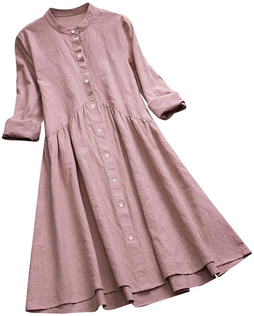 FEDULK Womens Vintage Simple Dress Plain Pleated Stand Collar Long Sleeve Button Down Casual Mini Dress