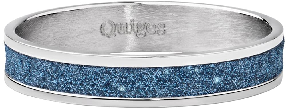 Quiges Stainless Steel Blue Stardust Glitter Silver Inner Ring 4mm Height for Stackable Ring