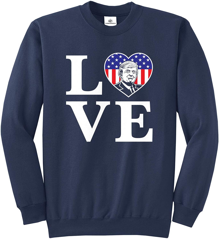 Threadrock Love Trump American Flag Heart (Stacked LO-VE) Unisex Sweatshirt - Small, Navy
