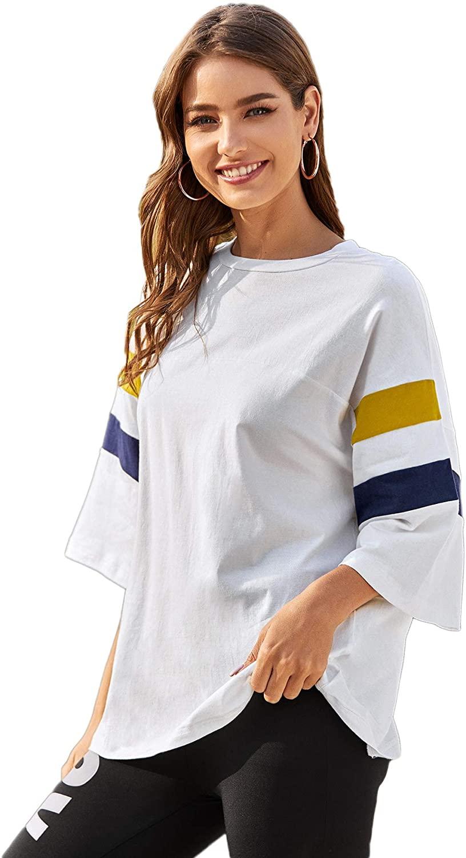 Romwe Women's 3/4 Short Sleeve Round Neck Striped Oversized Cotton Summer Blouse Top