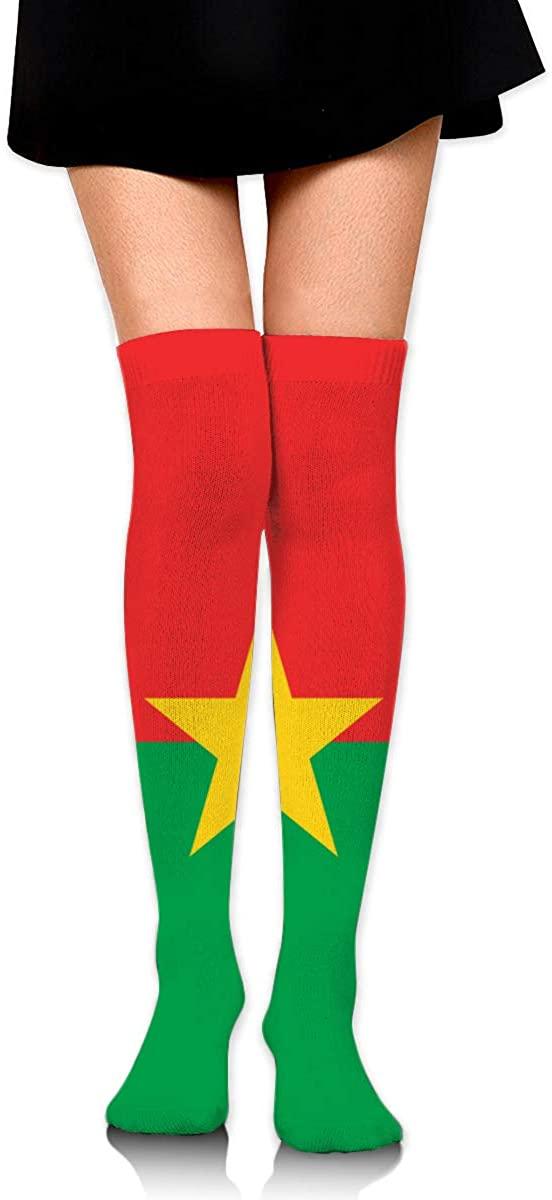 Knee High Socks Flag Of Burkina Faso Women's Athletic Over Thigh Long Stockings