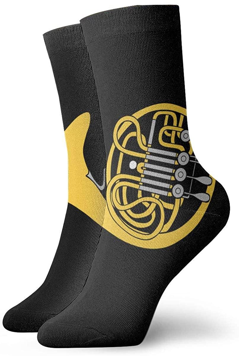 French Horn Short Crew Socks Dress Socks Athletic Socks