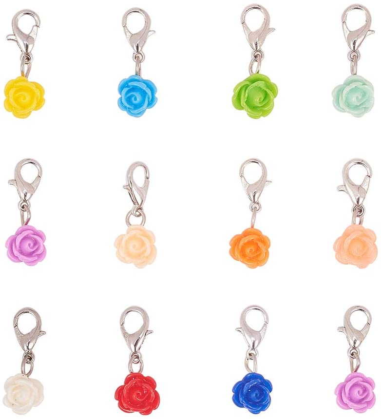 PH PandaHall 24 pcs 12 Colors Resin Rose Dangle Charms Pendant with Zinc Alloy Lobster Clasp Floating Locket Charms for Bracelet Necklace DIY Jewelry Making Accessory, Mixed Colors