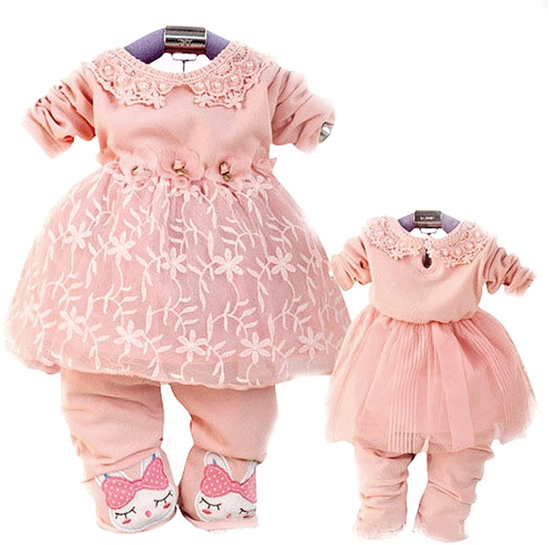 SOPO Baby Girls Outfits 2 Piece Set Flower TuTu Dress & Cute Rabbit Pants P9-24m