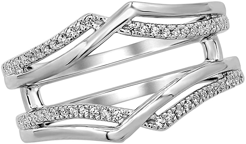 Solid 10k White Gold 0.12 Ct Lab Grown Diamond Enhancer Wrap Guard Band Ring For Women's