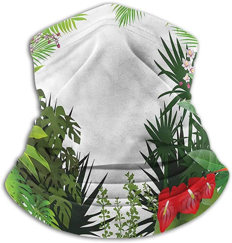 Face Scarf Mask Women Leaf Headband Neck Gaiter Hibiscus Anthurium Leaves 10 x 12 Inch