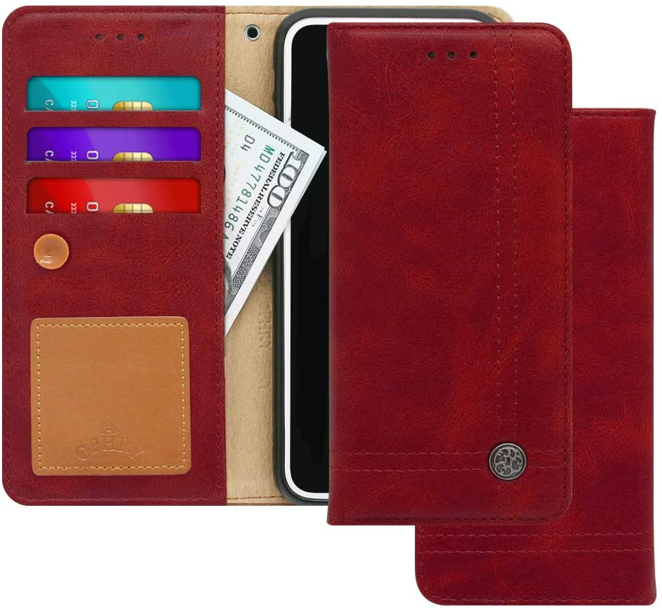 LG V40 ThinQ, V40 Case [Free 9 Gifts] Trim LINE Flip Diary Cover with Slim Folding Wallet Design [Octopus Ver.] – Card Holder, Cash Slots, Kickstand, Hand Strap and Message Pad (Burgundy Red)