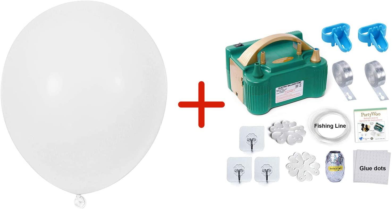 Bundle - Balloon Pump and White Balloons 50 Pcs 12 Inch