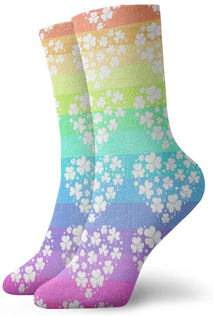 Heart Rainbow Shamrock Short Crew Socks Dress Socks Athletic Socks