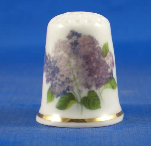 Porcelain China Collectable Thimble - Lavender Floral with Free Gift Box