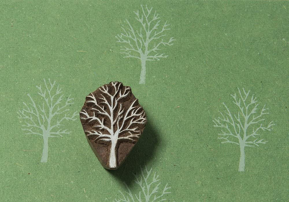 Blockwallah Leafless Tree Wooden Block Stamp