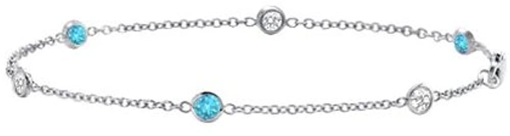 Blue Topaz and Diamond Bracelet 18K White Gold 1.00 CT TGW