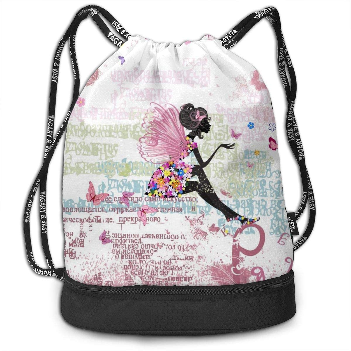 Bundle Backpacks Fairy On The Grunge Gym Sack Drawstring Bags Casual Daypack Yoga Bag School Training Pouch