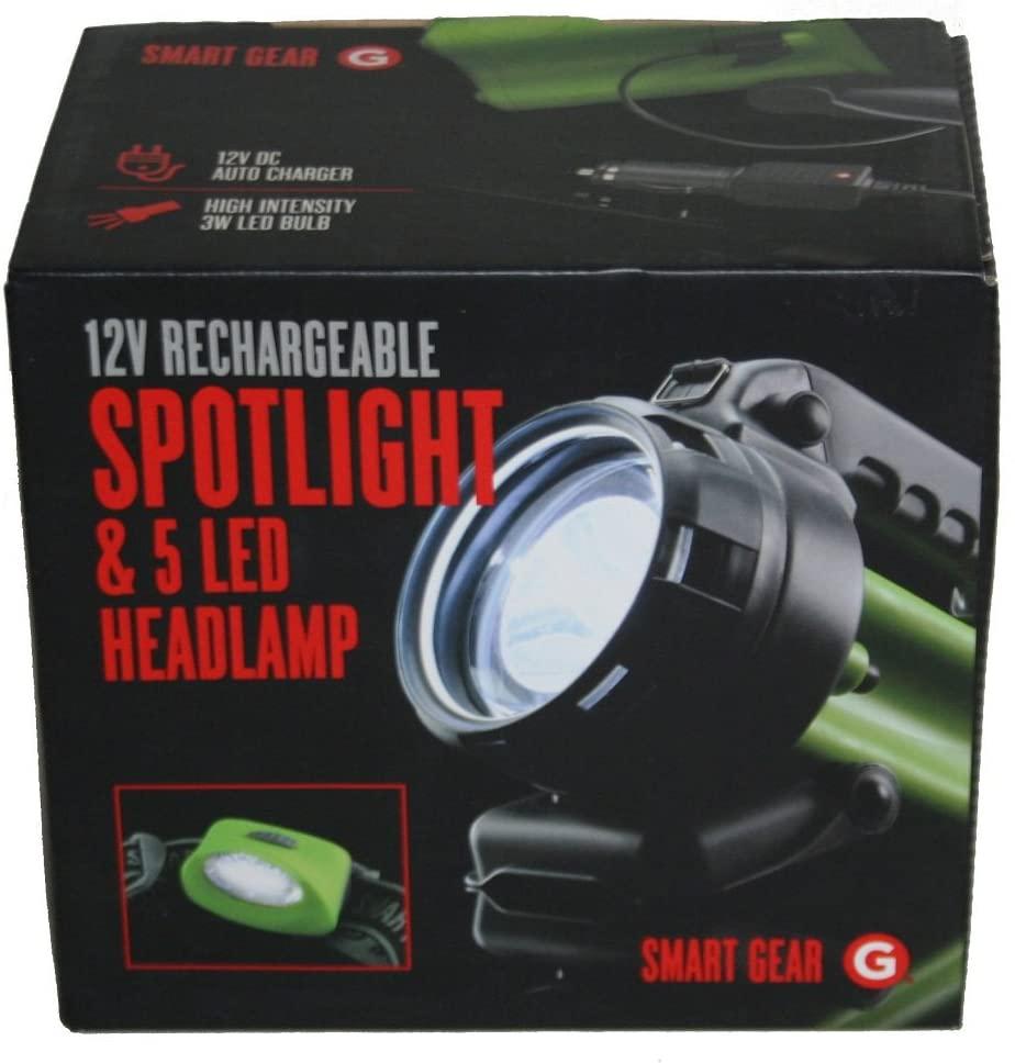 Smart Gear 12V Rechargeable Spotlight & 5 LED Headlamp