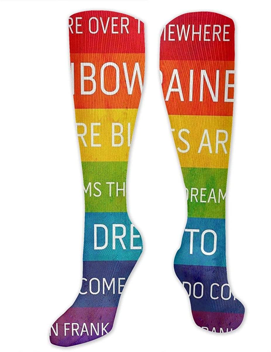 Men Women Knee High Socks Rainbow LGBT Gay Pride Striped Hose Thigh Stockings