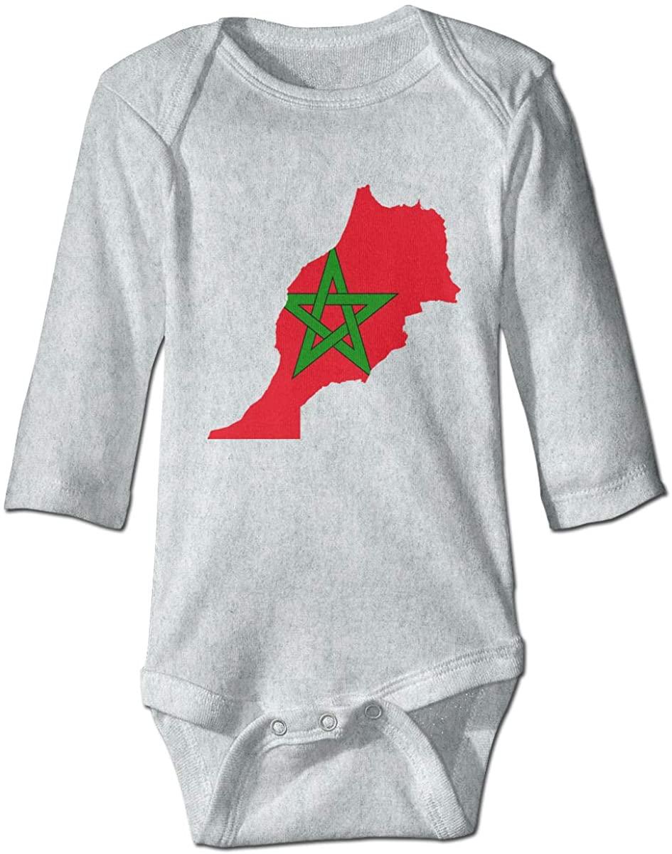 YOIGNG Morocco Flag Map Unisex Baby Bodysuit Infant Cotton Outfits Long Sleeve Jumpsuit