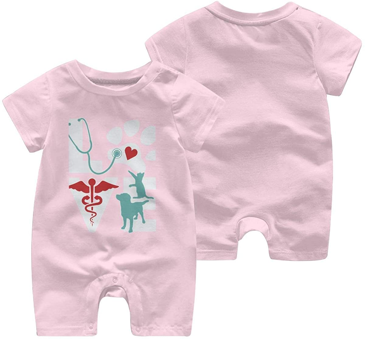 Baby Girls Boys Love Cat and Dog Veterinary Short Sleeve Bodysuit Romper Jumpsuit