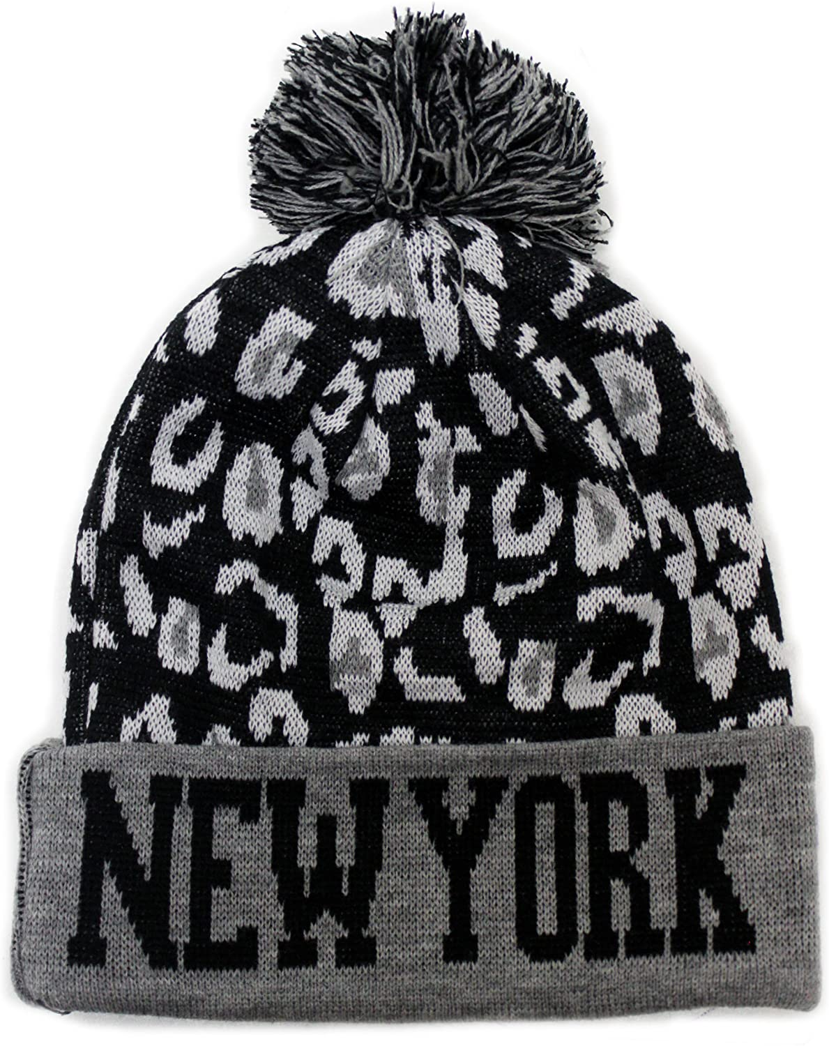 City Hunter Sk950 Leopard Pom Beanie Ski Hat - New York (Grey)