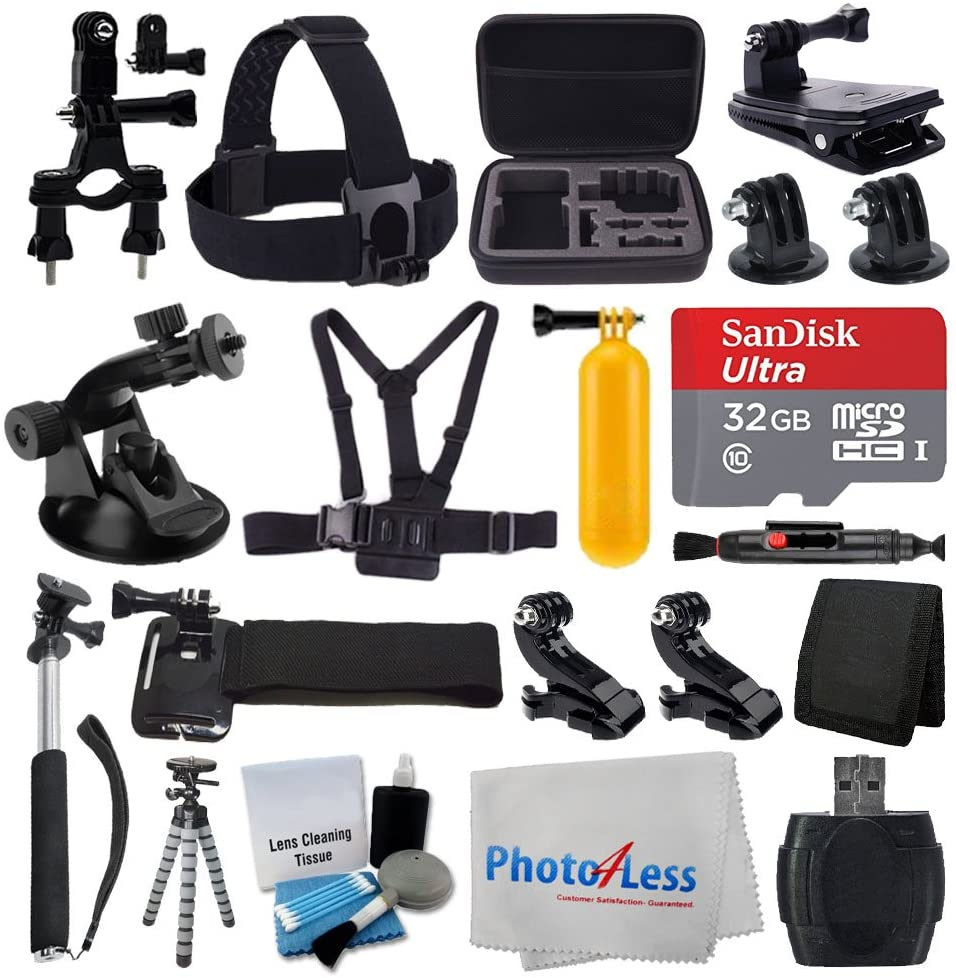 PHOTO4LESS Deluxe Accessory Bundle for GoPro + Medium Carrying Case + Floating Handle + 32GB Micro SD Memory Card + Monopod + Card Reader + Head Strap + Chest Strap + Wrist Strap + Flexible Tripod +