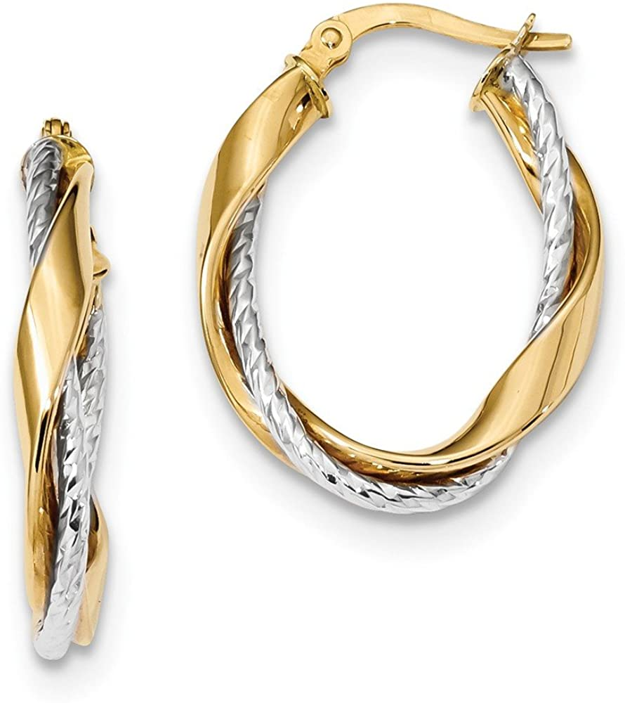 14k Yellow and White Gold Two Tone Rope Twisted Oval Hoop Earrings - 26mm x 19mm
