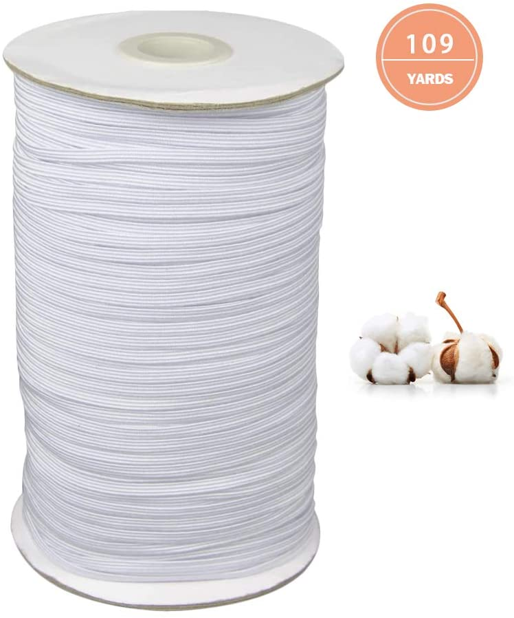"Atool 109-yard White Elastic Band Spool for Sewing mask, 1/4"" Flat Braided Cord/Rope/Bungee/Heavy-Duty Stretchy Elastic roll Spool"