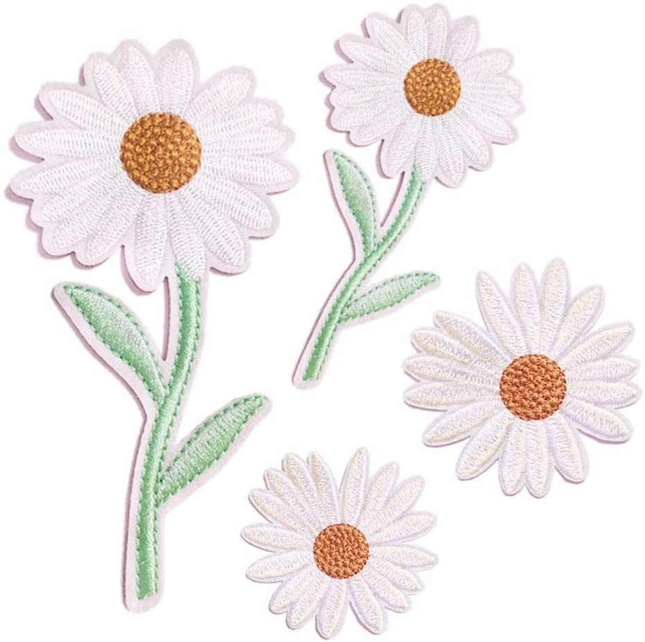 Embroidered Patch Flower Little Daisy Style Sew On/Iron On Patches Applique Accessories Decoration Patches for DIY Jeans Jacket Clothing Handbag Shoes Caps (Color : Style 1-4PCS)