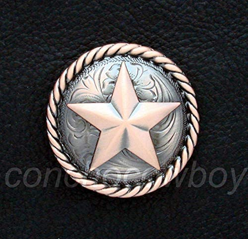 Leathercrafts/Accessories/Set of 6 Copper Color Round Rope Edge Star Conchos 1-1/4'' Screw Back