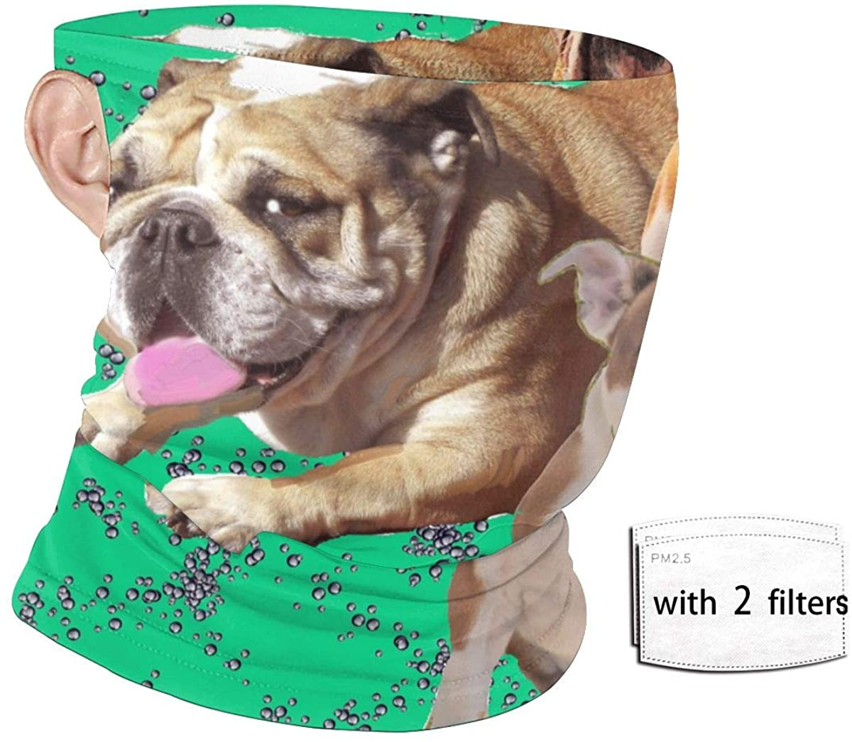 Bulldogs On Green Background Men And Women Quick-Drying Breathable Ear-Hanging Neck Sand Protection Headscarf