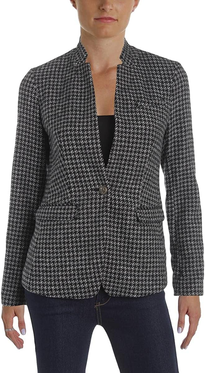 Maison Jules Womens Houndstooth Long Sleeves One-Button Blazer B/W 14