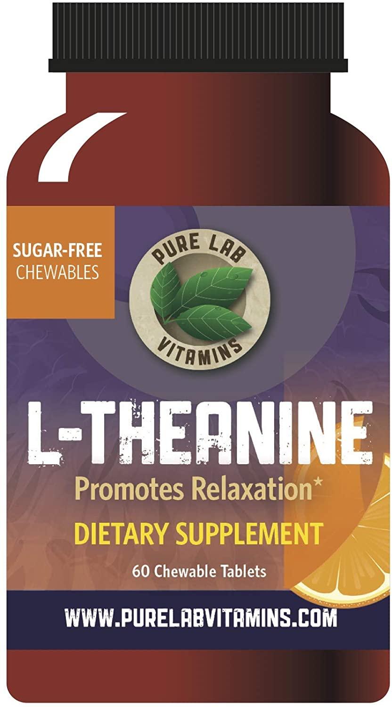 Pure Lab Vitamins L-Theanine 125mg Sugar - Free Chewable -60 Tablets, stevia Free, Artificial Sweetener Free.