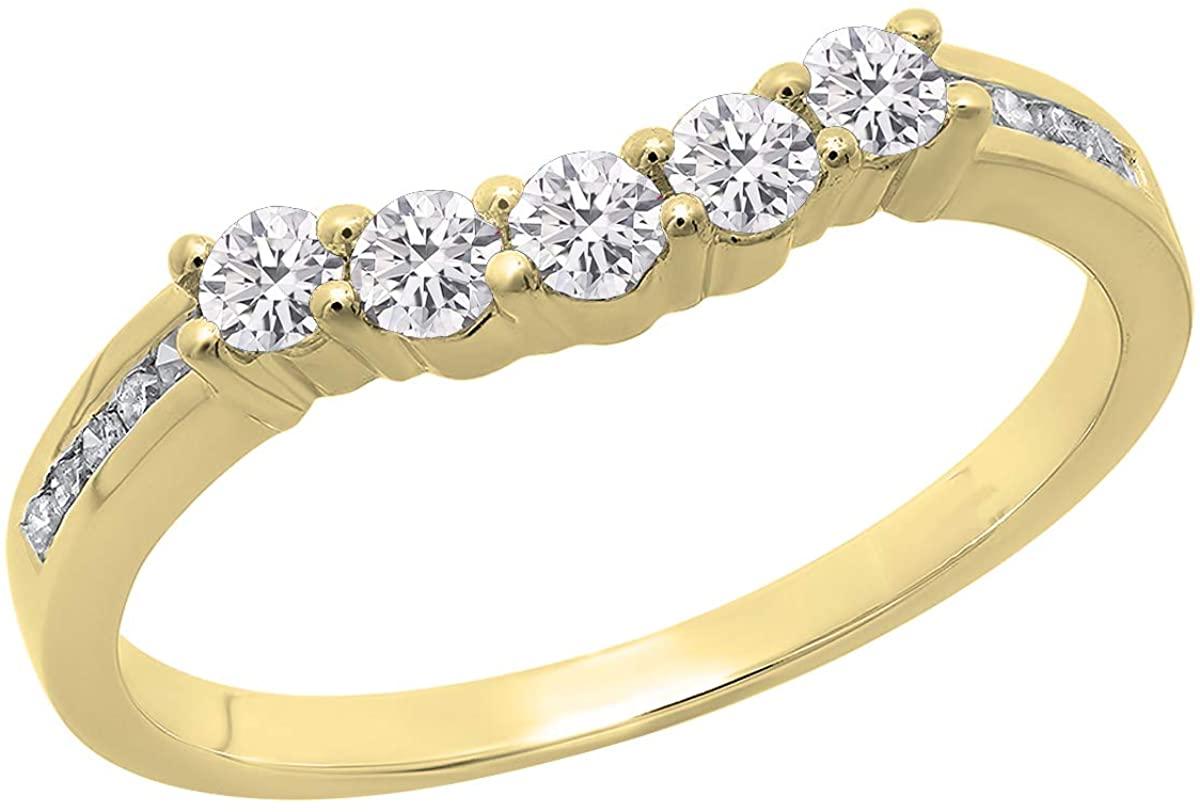 Dazzlingrock Collection 0.35 Carat (ctw) Round Lab Grown Diamond Ladies 5 Stone Wedding Guard Ring 1/3 CT, 10K Gold