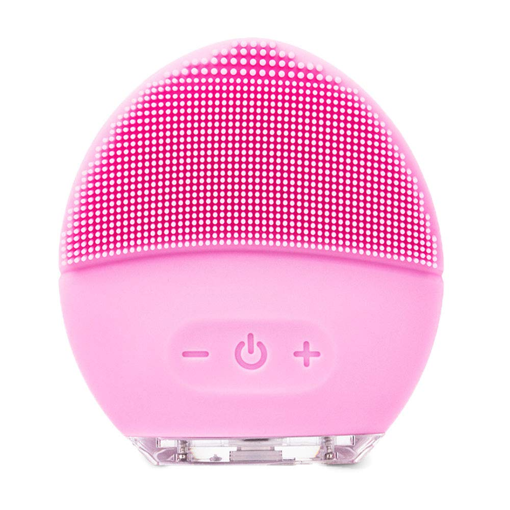 Electric Facial Cleansing Brush,BIHIKI Silicone Face Cleanser and Massager Brush for Gentle Exfoliating, Deep Cleanse, Skin Care,Rechargeable & IPX7 Waterproof (Pink)