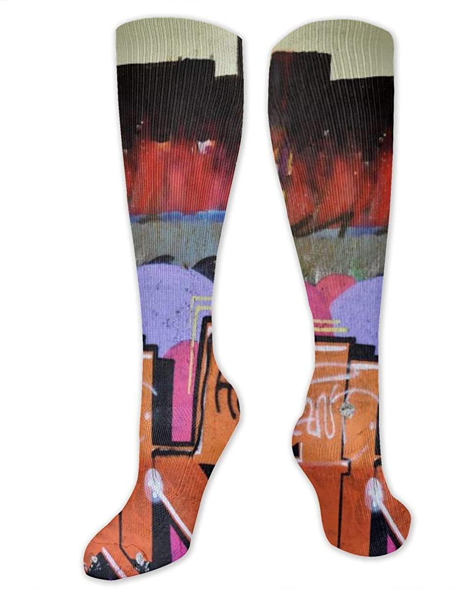 Men Women Knee High Socks Graffiti Street Art Boot Tube Hose Thigh Stockings