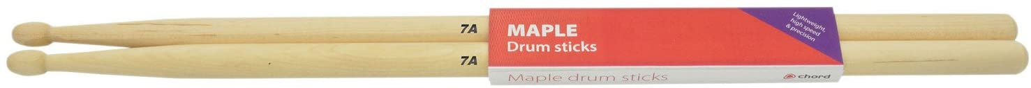 chord M7AW 7A Maple Drum Sticks with Wood Tips