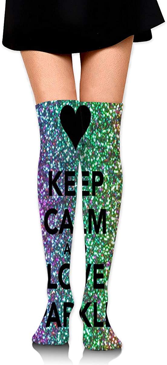 Knee High Socks Keep Calm Ad Love Sparkles! Womens Athletic Over Thigh Long Stockings