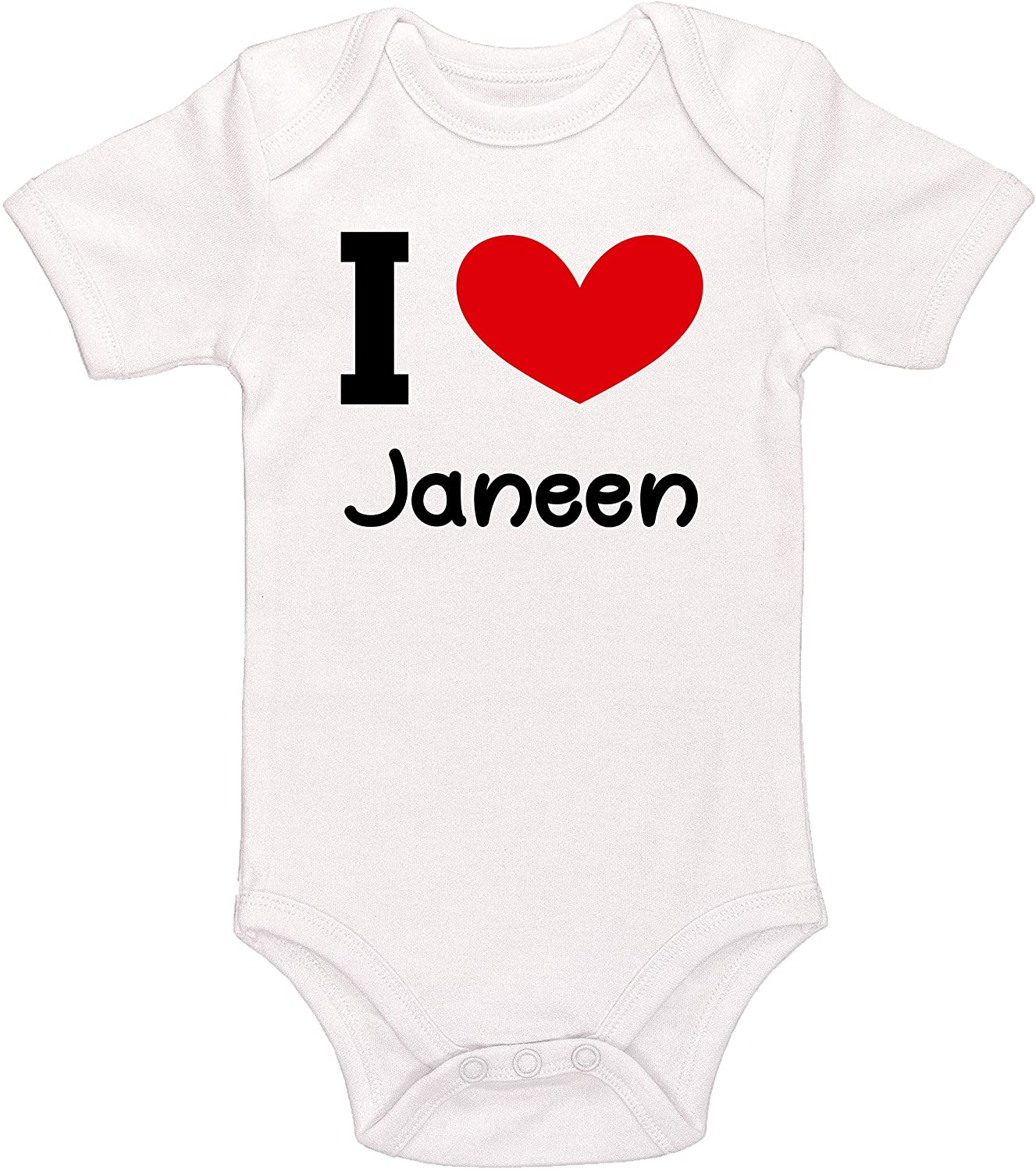 Kinacle I Love Janeen Personalized Baby Bodysuit