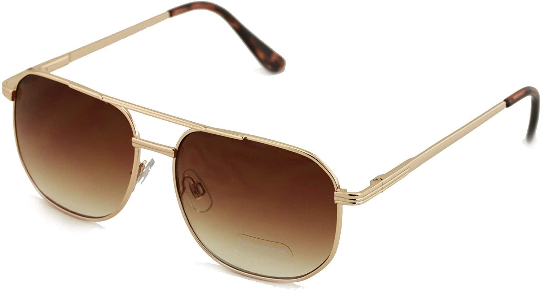 Metal Aviator Sunglasses - Big Lens Spring Hinge Square - Gold Gunmetal Black Brown