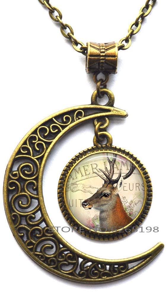 Deer Pendant, Deer Necklace Deer Art Jewelry Gift for Nature Lover or Camper,Art Pendant,N362
