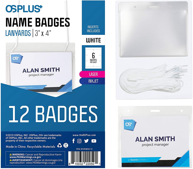 OS Plus Hanging Lanyard Style Name Badges, Top-Loading, Precut, 3