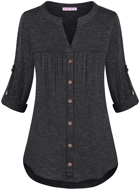 JOYMOM Women Plus Size Split V Neck 3/4 Roll Up Sleeve Button Decor Tunic Shirt