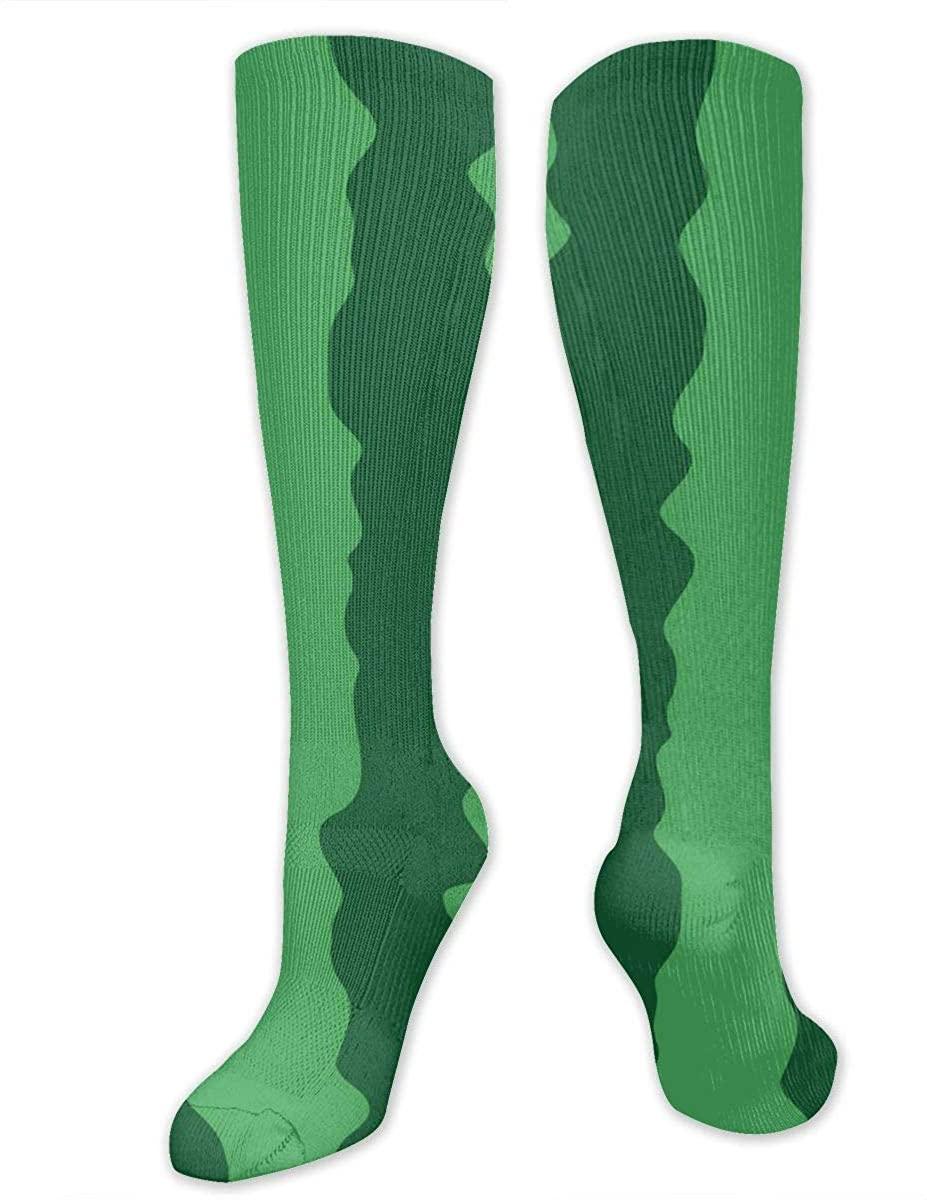 Knee High Socks For Men Women Summer Watermelon Texture Workout Hose Stockings