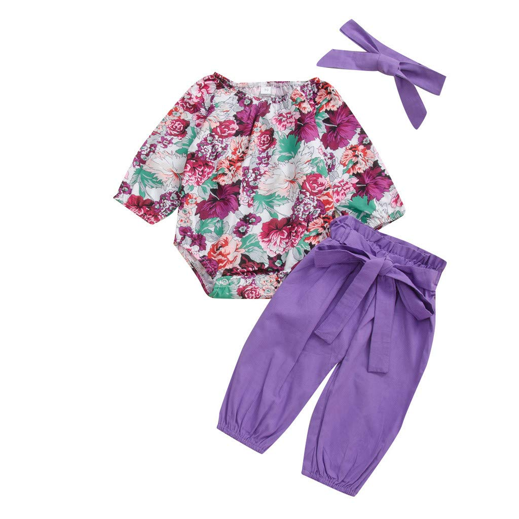Iuhan Infant Girls Playsuit Clothes Set for 0-24 Months Newborn Baby Girl Long Sleeve Floral Romper Tops Bow Pants Headband Outfits Set