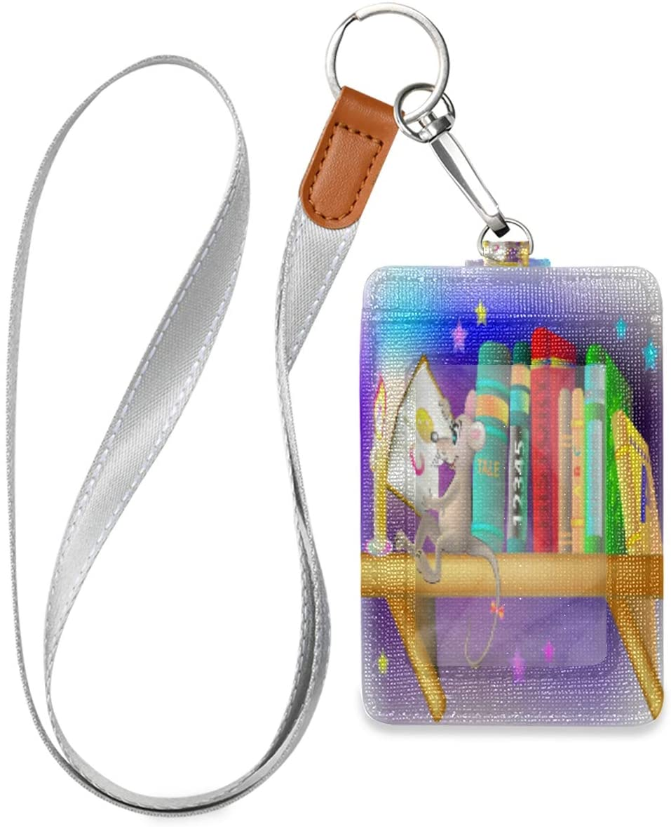 Id Badge Holder with Lanyard Funny Rat Reading Book Leather Vertical Id Badge Card Holder with 1 Clear Id Window for Women Men Kids, 2 Credit Card Holder Slots and 1 Detachable Neck Lanyard
