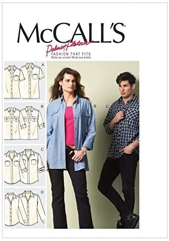McCalls Ladies & Mens Sewing Pattern 6613 Long & Short Sleeve Shirts