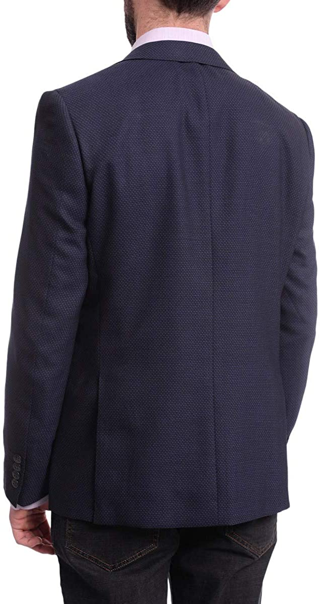 Napoli Slim Fit Blue Textured Two Button Half Canvassed Wool Blazer Sportcoat