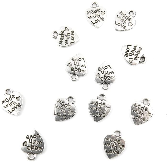 Price per 190 Pieces Jewelry Making Charms 06889 Love Heart Pendant Ancient Silver Findings Bulk Supplies Vintage