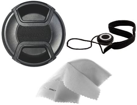 Canon EOS Lens Cap Center Pinch (77mm) + Lens Cap Holder + Nwv Direct Microfiber Cleaning Cloth. (Alternative to Canon E-77U)