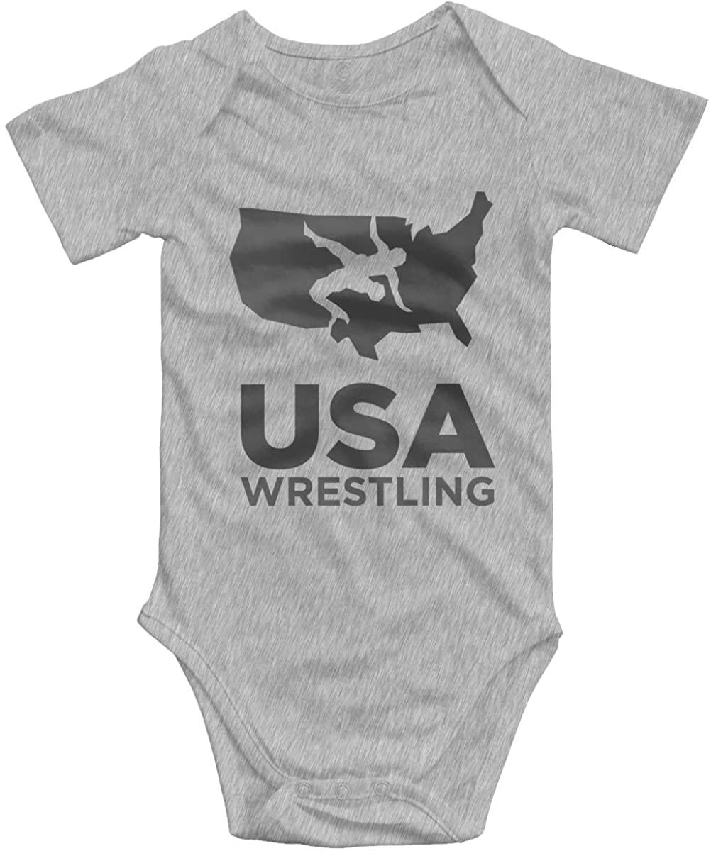 AOOIUU USA Wrestling Logo Newborn Bodysuits Short Sleeves Baby Boys Girls Jersey Baby Onesies White