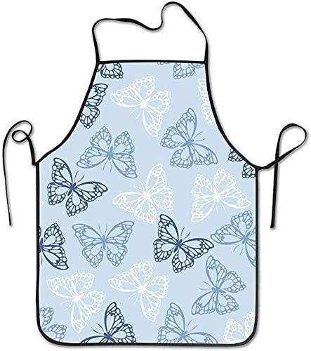 Humor Kitchen Aprons ,Spring/Winter/Halloween/Thanksgiving Apron for Cooking Baking 20.5×28.237 in Colored Butterflies