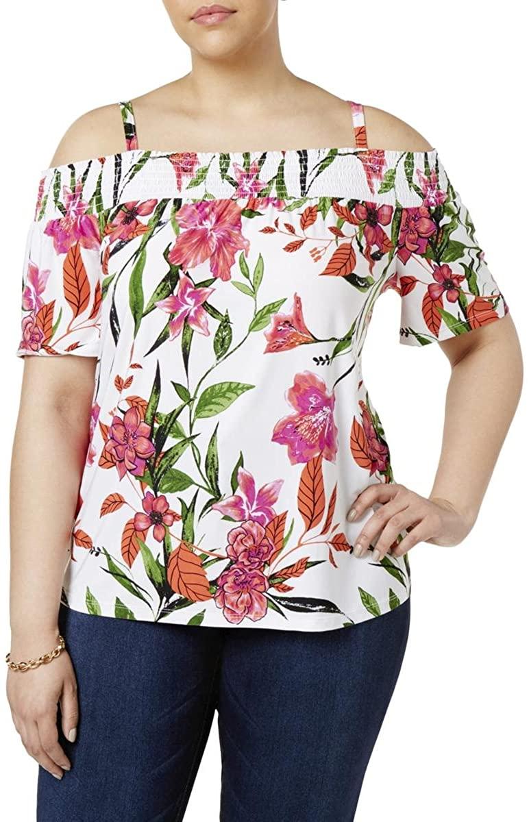 INC International Concepts Plus Size Floral-Print Off-The-Shoulder Top